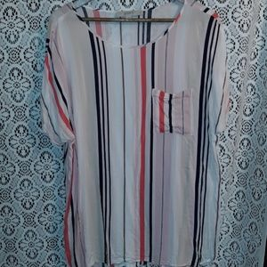 PINK NAVY AND WHITE STRIPED LOFT TOP